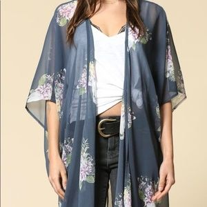 Short Sleeve Long Horn Floral Kimono Cover Up